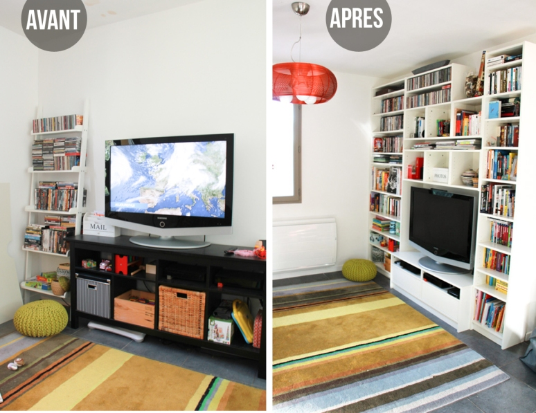 Meuble Tv Ikea Notice : Avant- Après Notre Bibliothèque-meuble Télé Ikea (# Monday Deco)
